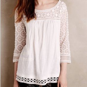 {anthropologie} white lace tunic top